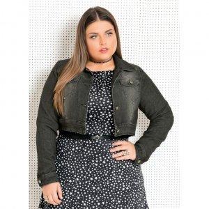 Jaqueta Jeans Escuro Plus Size