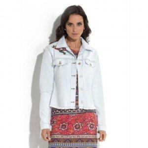Jaqueta Jeans Quintess Com Detalhe No Ombro