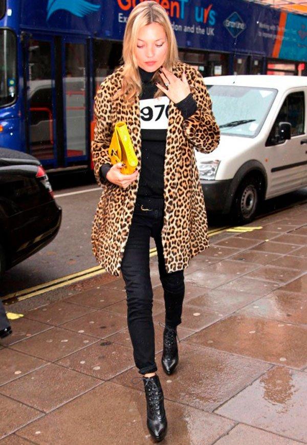 Kate Moss - casaco de oncinha - oncinha - inverno - street style