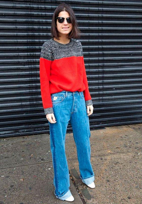 Leandra Medine - calça jeans listra lateral - calça jeans listra lateral - inverno - street style