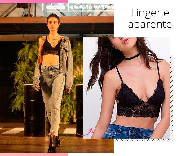 modelo - lingerie - lingerie aparente - inverno - passarela