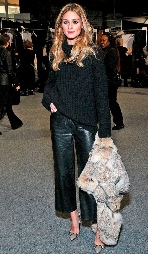 Olivia Palermo - culotte couro - pantacourt - inverno - street style