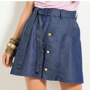 Saia Jeans Quintess Com Botões Frontais