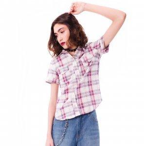 Camisa Xadrez De Linho Purple Haze Tamanho:  M - Cor:  Rosa