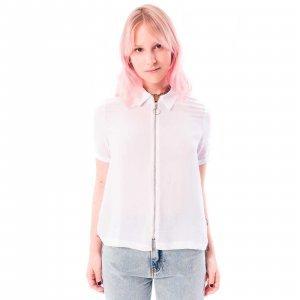 Camisa De Viscose Com Zíper Branca Tamanho: M - Branco