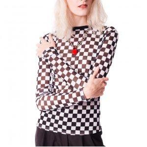 Top De Tule Checkered Cheap Trick Tamanho: G - Cor: Preto