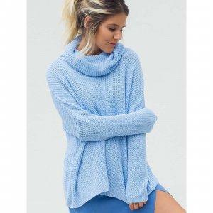 Maxi Pullover Gola Azul Tamanho: P - Cor: Azul