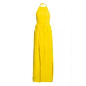 Vestido Longo Com Fenda Quintess Amarelo