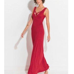 Vestido Longo Quintess Vermelho Tiras No Decote