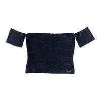 Blusa Cropped Em Malha De Bandagem Com Decote Ombro A Ombro