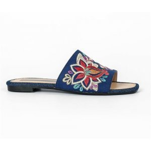 Chinelo Slide Tanara Azul Bordado