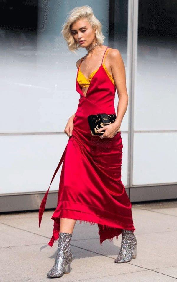 it girl - vestido-vermelho-alcinha-top-amarelo-bota-glitter - vestido  - meia estação - street style