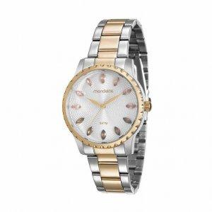 Relógio Feminino Prata E Dourado Cristais