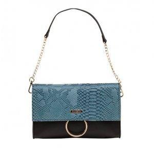 Bolsa Ombro Azul E Preta Textura Phyton
