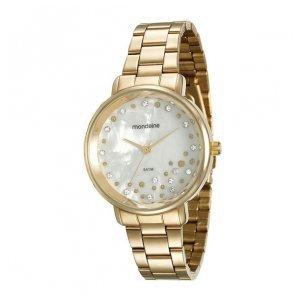 Relógio Madrepérola Cristais Dourado