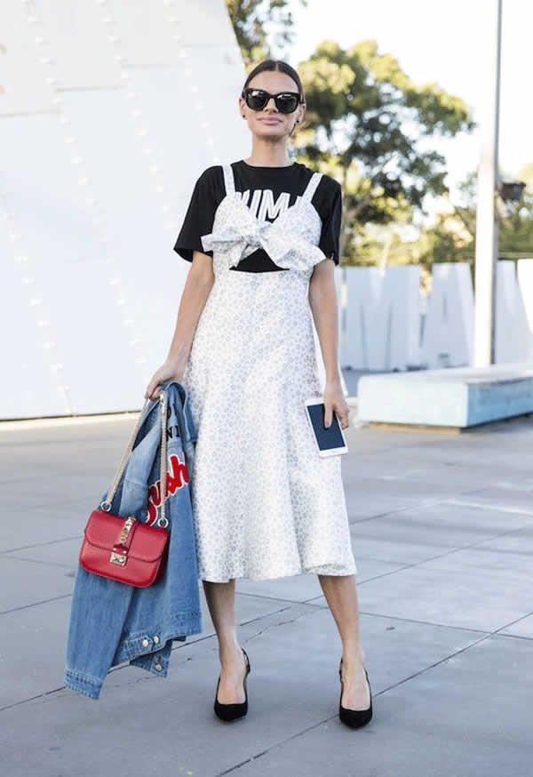 it girl - vestido-decote-estomago-branco-tshirt-scarpin - vestido  - meia estação - street style