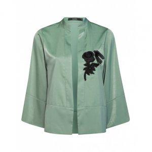 Kimono De Cetim Bordado Sem Botão