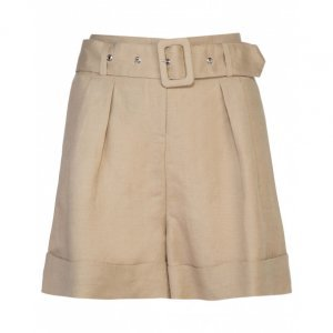 Shorts De Linho Com Cinto Pregas
