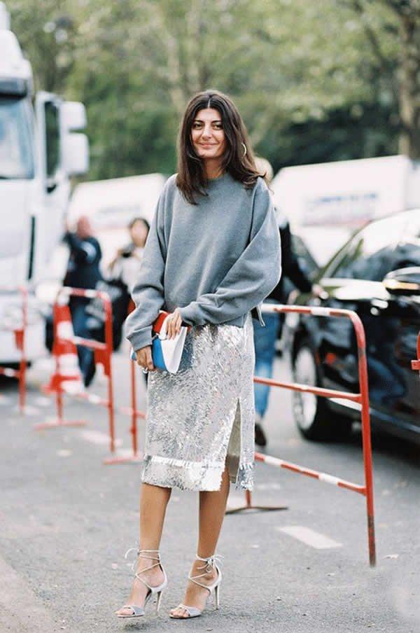 it girl - vestido-paete-prata-moletom-cinza-sandalia - vestido  - meia estação - street style