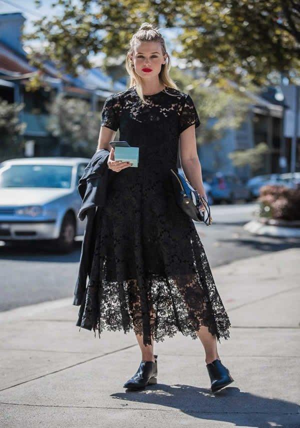 it girl - vestido-preto-manga-renda-midi-tenis - vestido  - meia estação - street style