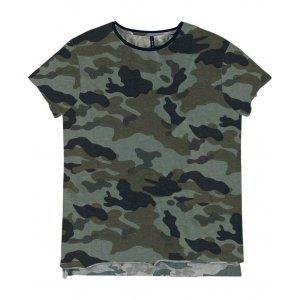 T-Shirt Em Malha De Algodão Camuflada