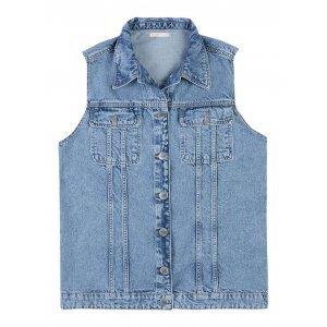 Maxi Colete Jeans Com Bolsos