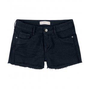 Shorts Em Sarja Com Barras Desfiadas