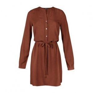 Vestido Em Tecido De Viscose Com Amarração E Detalhe Em Renda