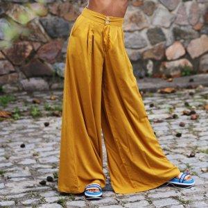 Calça Pantalona Ampla Tamanho: M - Cor: Amarelo