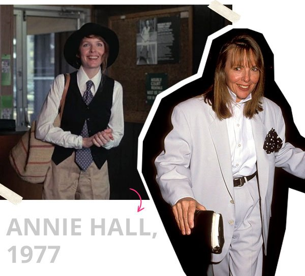 Diane Keaton - conjunto - oversized - verão - anos 70