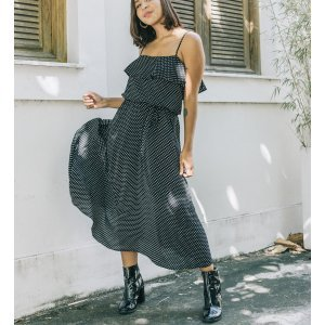Vestido Brigitte Poá Pb Tamanho: Pp - Cor: Preto E Branco