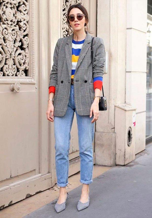 It Girl - blazer-xadrez-calça-jeans-malha-colorida - blazer xadrez - Meia Estação - Street Style