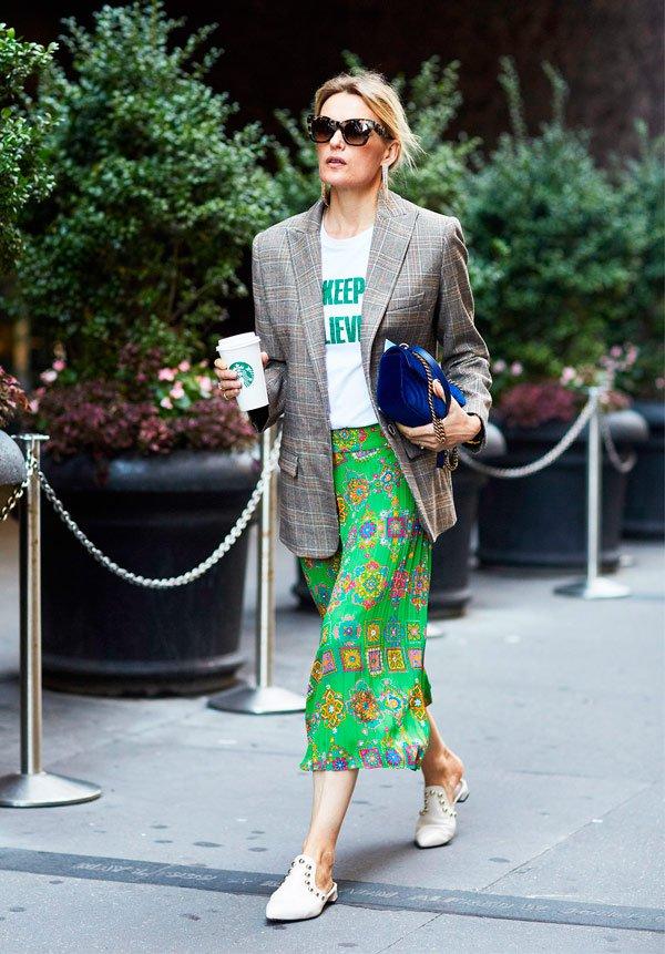 It Girl - blazer-xadrez-saia-verde-mule-branca - blazer xadrez - Meia Estação - Street Style