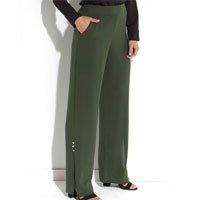 Calça Quintess Verde Militar Com Fenda
