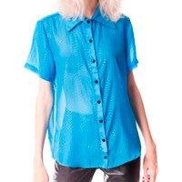 Camisa De Chiffon Checkered Azul Tamanho: P - Cor: Azul
