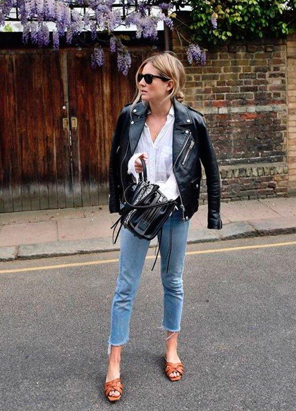 it girl - camisa-jaqueta-couro-calca-jeans - jaqueta couro - meia estação - street style
