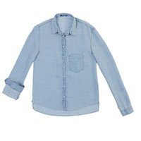 Camisa Jeans Feminina Hering Com Mangas Em Barra Degrau