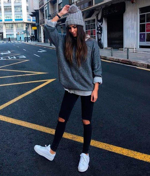 it-girl - camisa-tricot-calca-detroyed-tenis-branco - tênis branco - inverno - street style