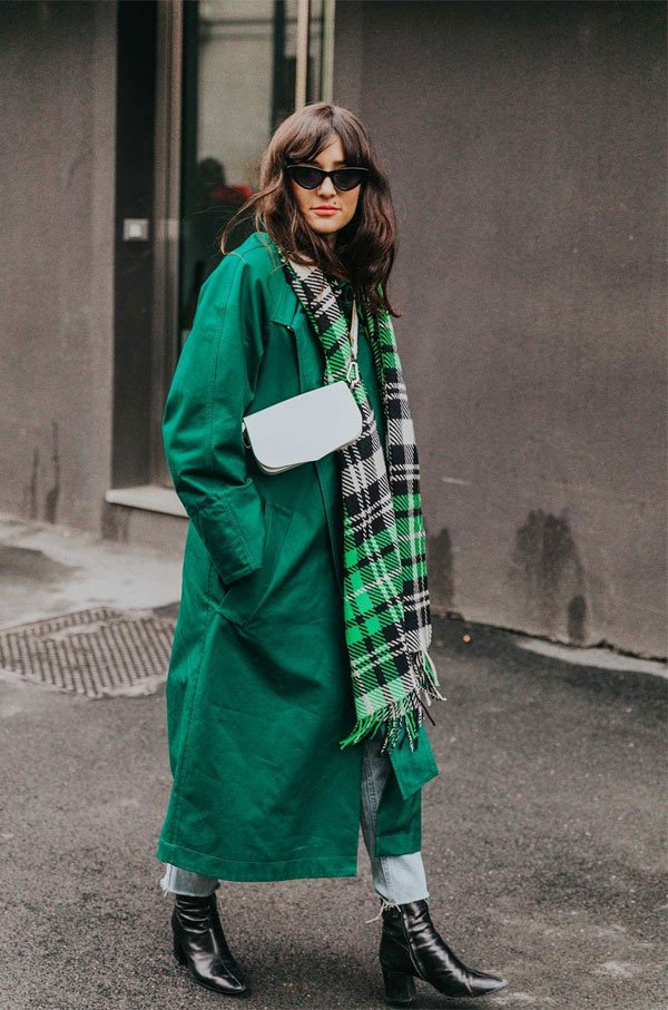 it girl - casaco-verde-cachecol-xadrez - casaco - meia estação - street style