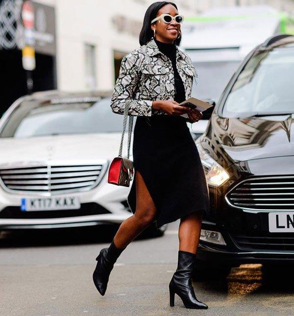 Chrissy Rutherford - jaqueta-animal-print-saia-midi-fenda-preta - saia midi - meia estação - street style