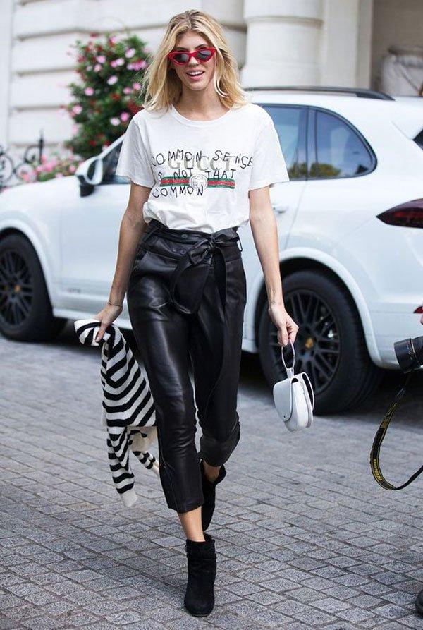 Devon Windsor - calça-couro-tshirt-gucci - calça-couro - meia estação - street style