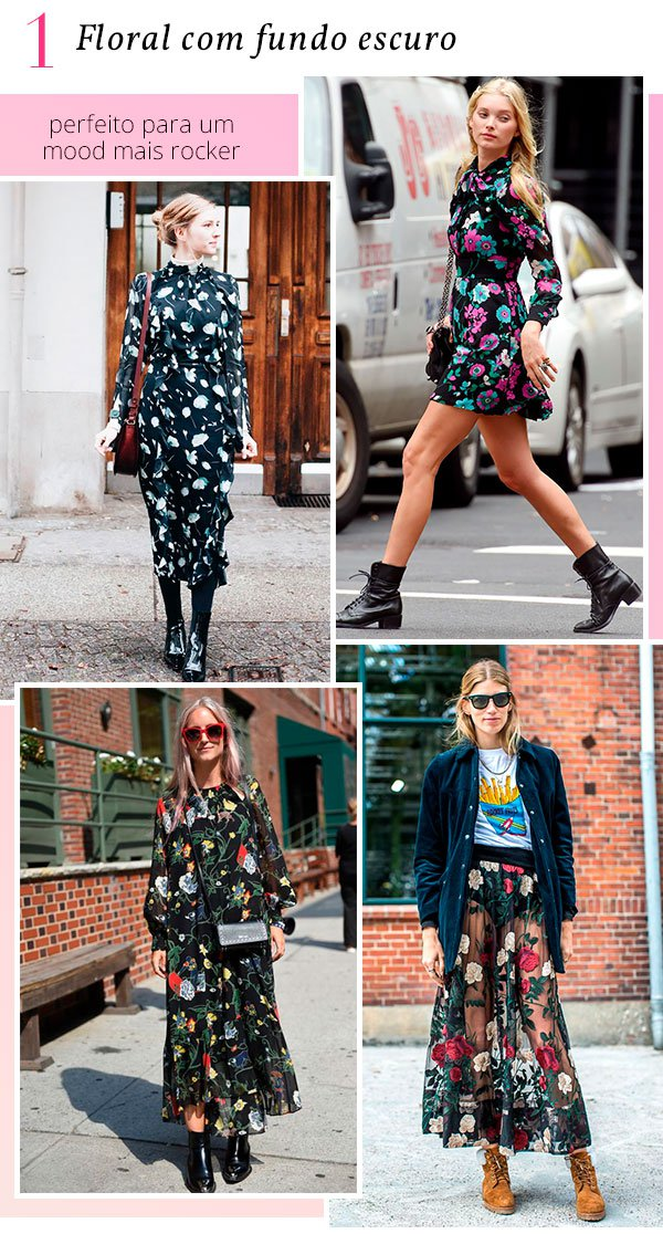 it girls - floral - floral fundo escuro - verão - street style