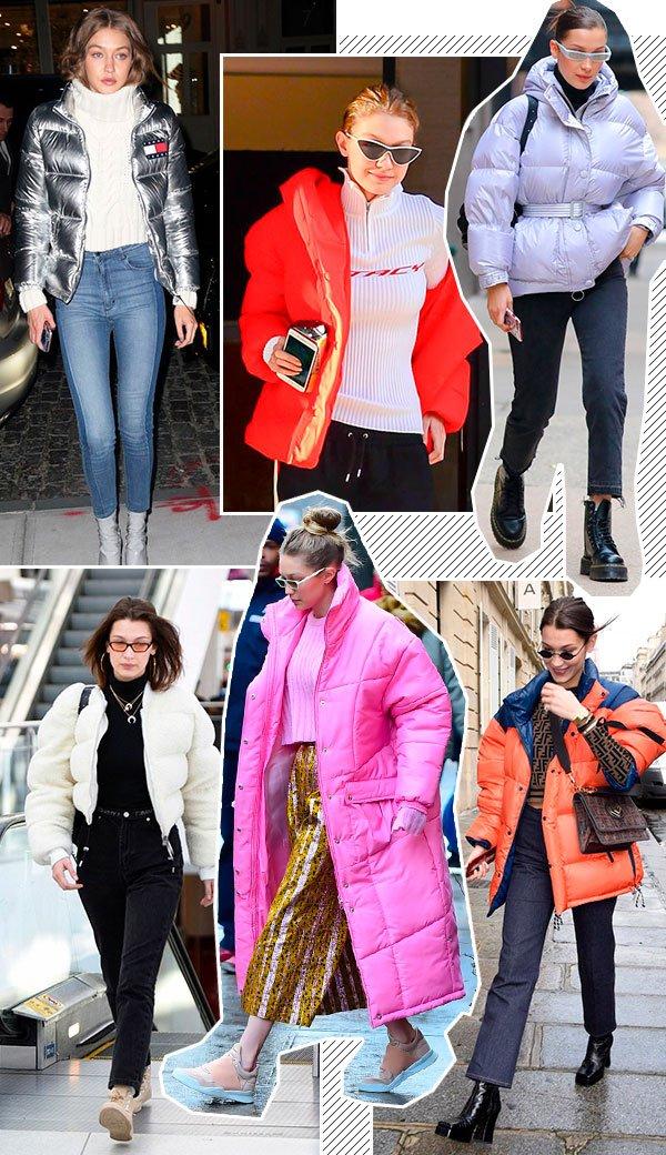 Gigi e bella hadid - casacos - puff jackets - inverno - street style