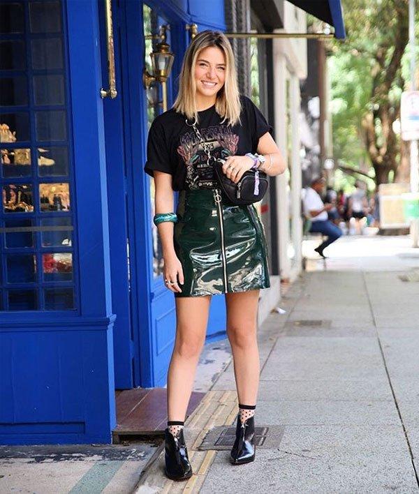 Isabela Santos - saia-verniz-verde - saia verniz - meia estação - street style