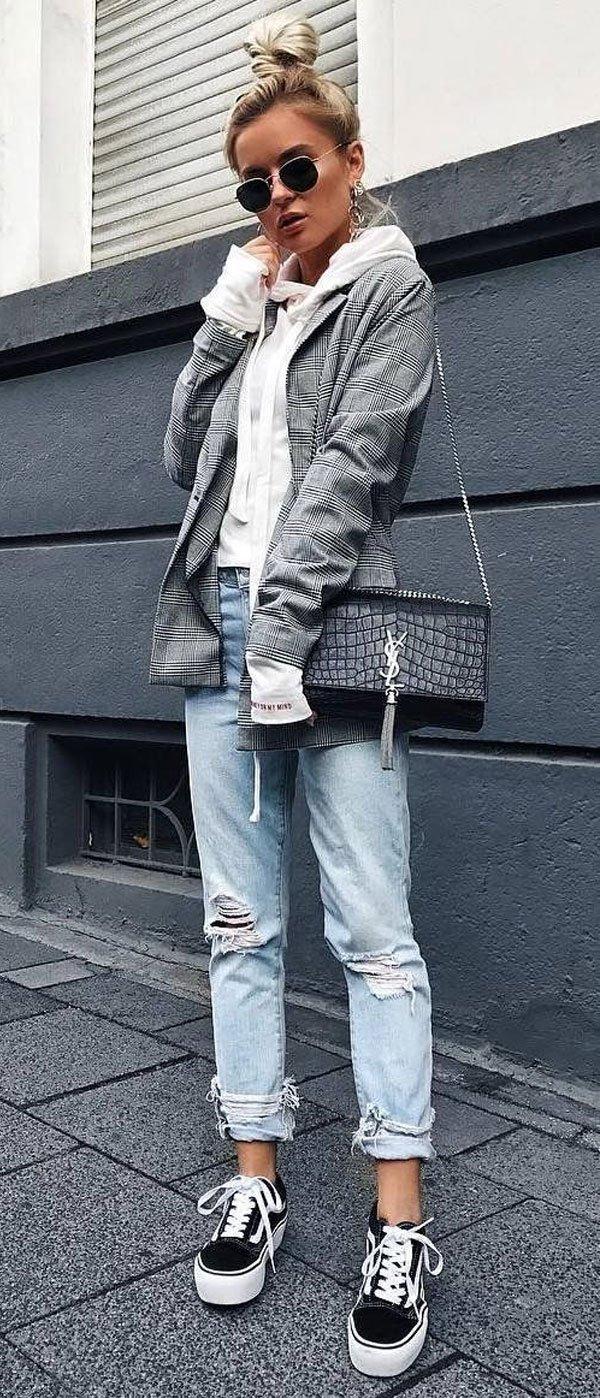 it girl - blazer-moletom-jeans-destroyed - moletom - meia estação - street style