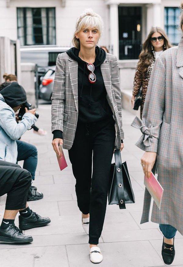 it girl - blazer-moletom-jogger-preta - moletom - meia estação - street style