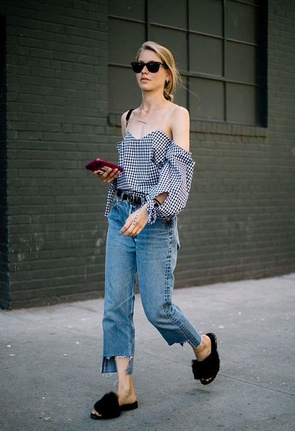 It girl - blusa-ombro-vichy-calça-jeans-slide-pelos - slide-pelos - meia estação - street style