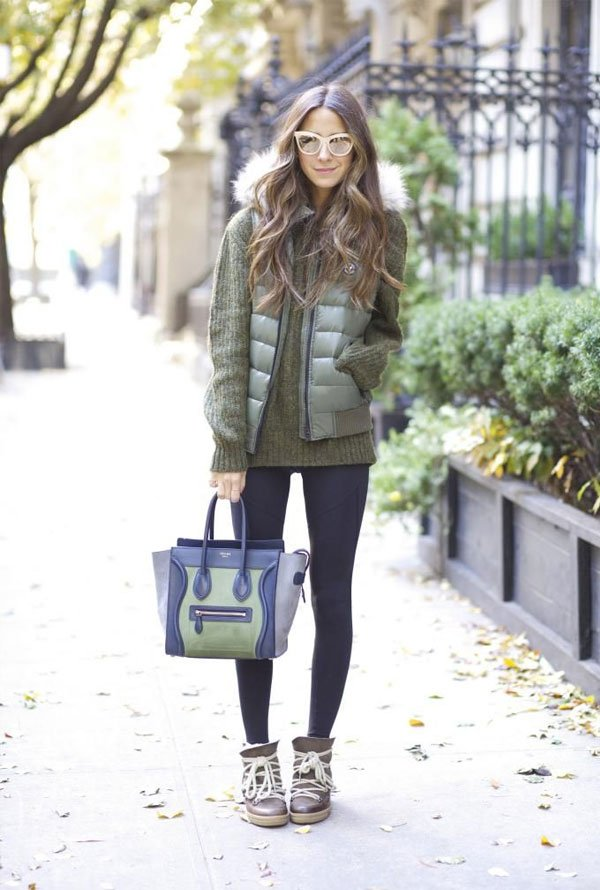 it-girl - sueter-colete-puffer-legging - colete puffer - inverno - street style
