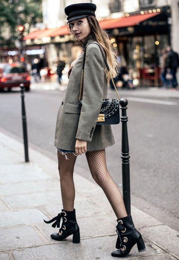 it-girl - blazer-xadrez-meia-arrastão - meia-arrastão - meia estação - street style