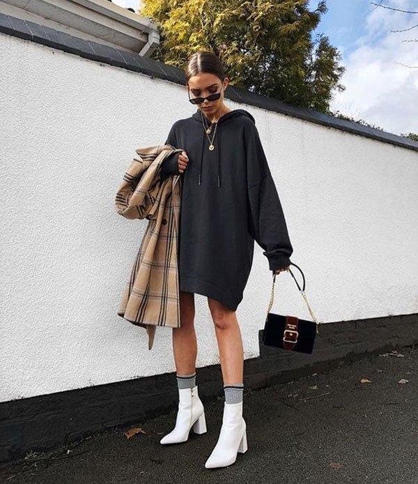 It girl - moletom-preto-vestido - moletom - meia estação - street style